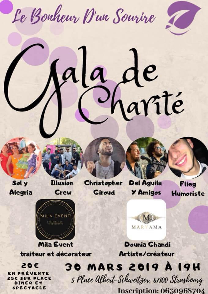 l'affiche du gala de charité du 30 mars 2019 au centre culturel marcel marceau organisé par l'association le bonheur d'un sourire a Strasbourg